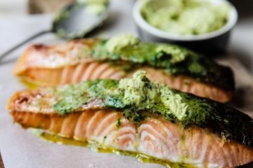 Grilled Huon Salmon with Anchovy Butter and Capers